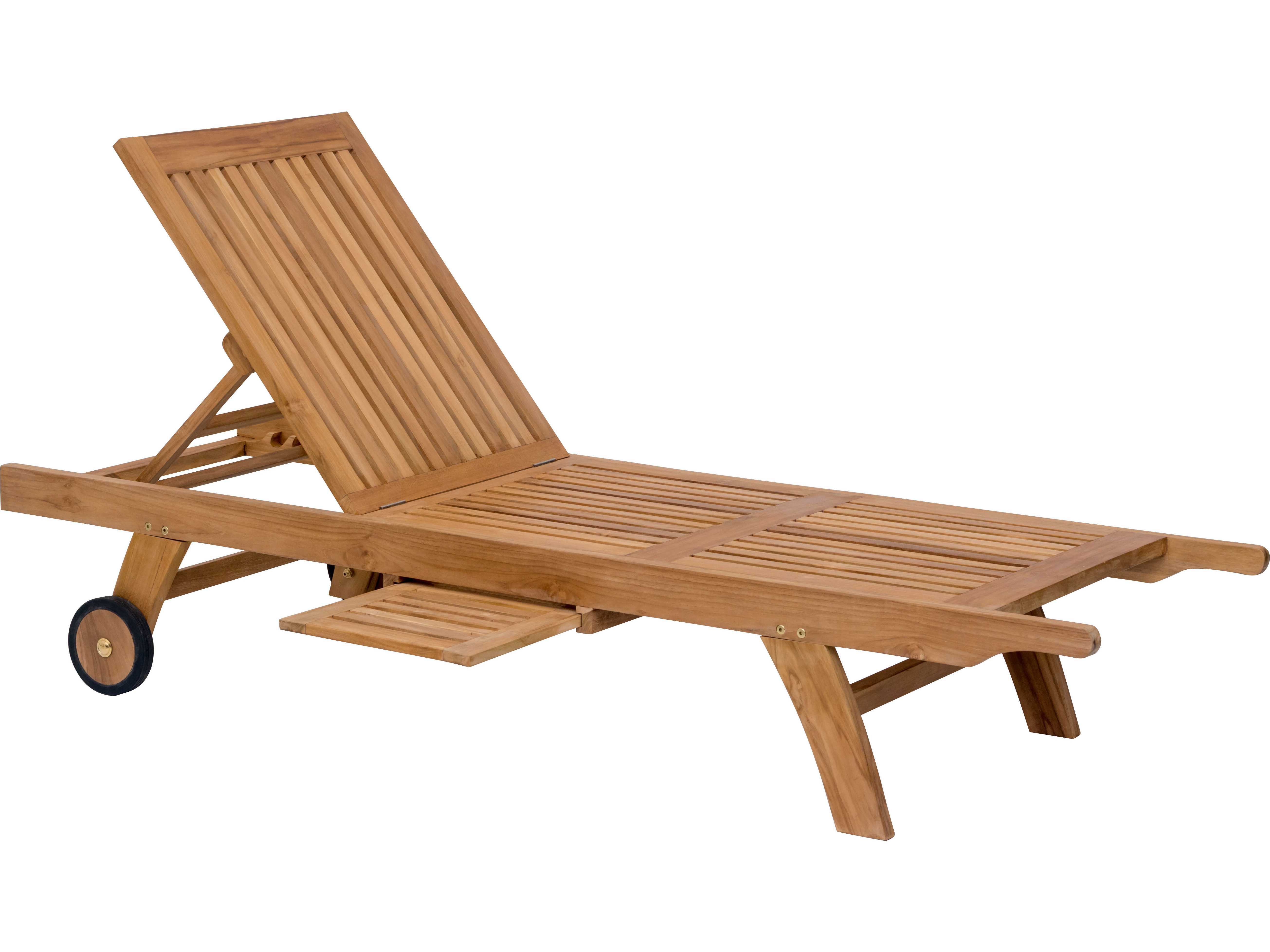 Zuo Outdoor Starboard Teak Chaise Lounge In Natural 703560 - Outdoor Teak Loungers