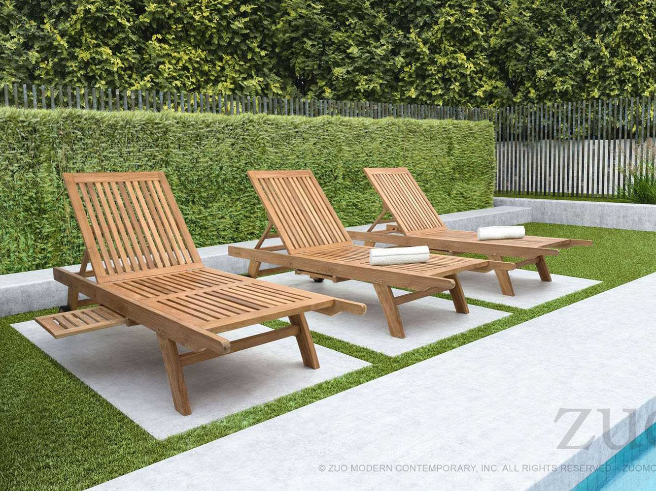 Zuo Outdoor Starboard Teak Chaise Lounge Set Strbrdlngset