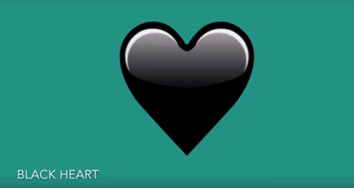 black emoji heart
