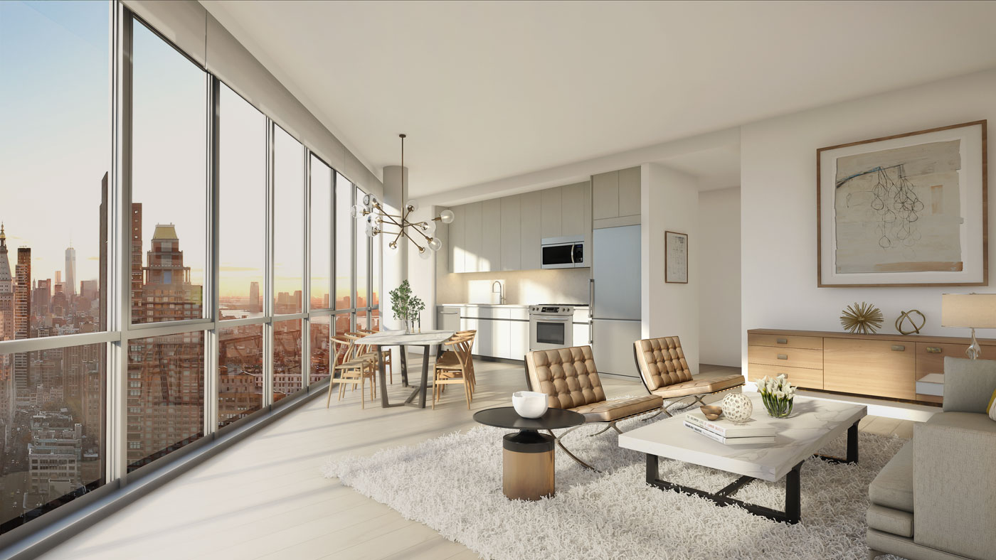 Two Floor Apartment Nyc Angular Skyscraper One Sixty Madison Offering Two Months