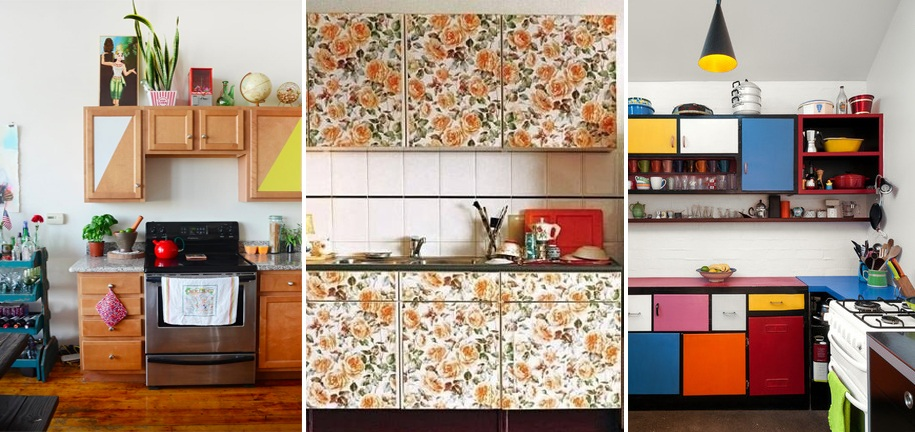 apartment therapy cabinets covered removable wallpaper rental friendly kitchen update wallpaper cabinets