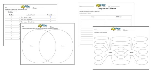 Compare and Contrast Worksheets edHelper