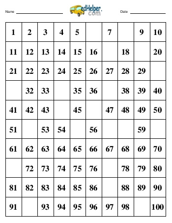 Hundreds Chart Worksheet Fill-In FreeEducationalResources