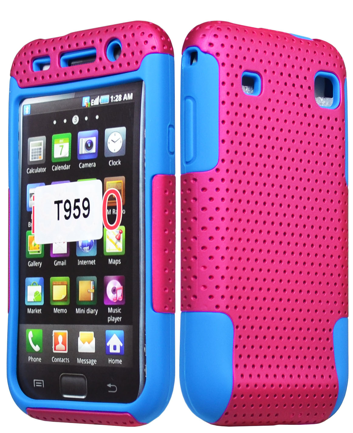 Samsung Galaxy S1 For Samsung Galaxy S1 T959 Vibrant Hybrid Pink Case 43 Blue