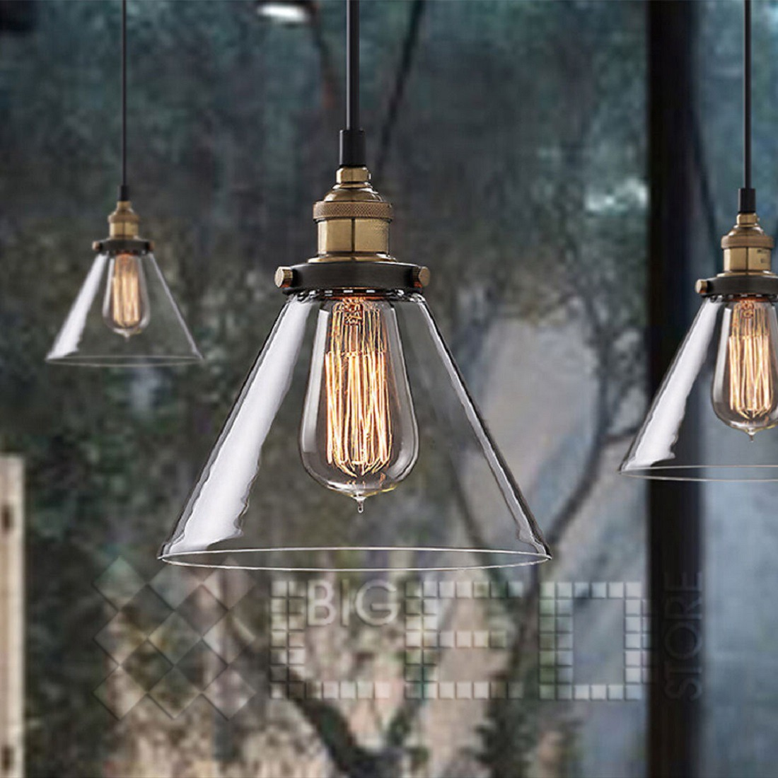 Modern Vintage Lights Modern Vintage Industrial Metal Loft Glass Cone Ceiling