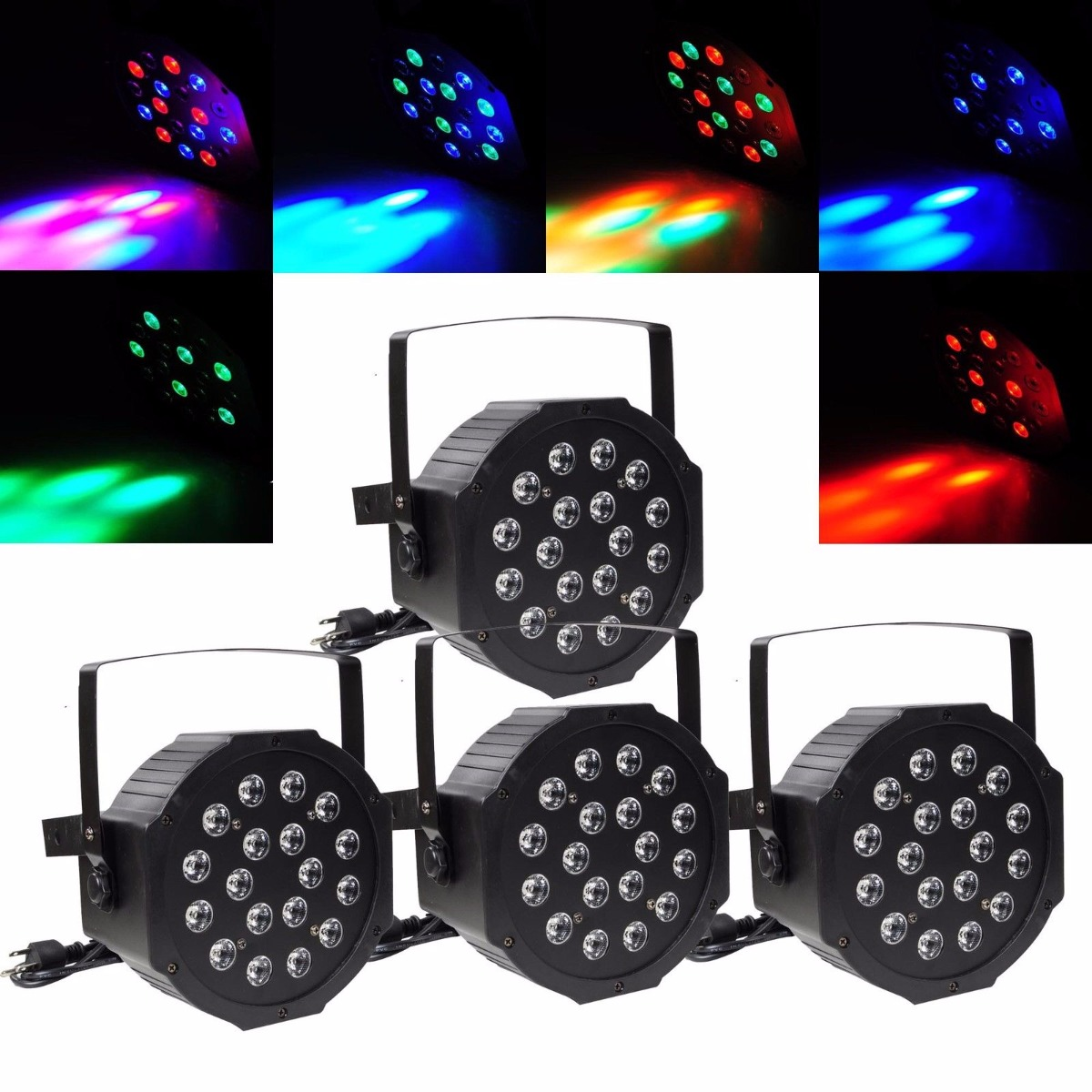 Masters Led Lighting 4pcs 18 Led Rgb Par Can Dj Stage Dmx Lighting For Disco