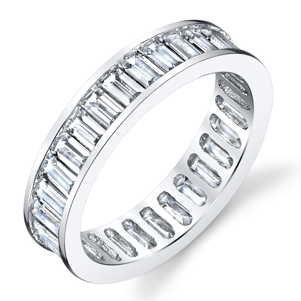 cz wedding band Sterling Silver Channel Set Baguette Anniversary Wedding Band Cubic Zirconia CZ