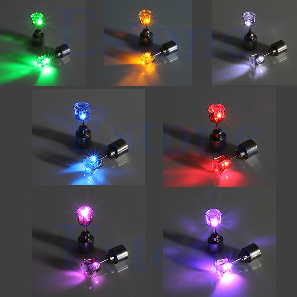 Led Earrings Details About 1 Pc Light Up Led Bling Ear Stud Earrings Accessories For Dance Xmas Party
