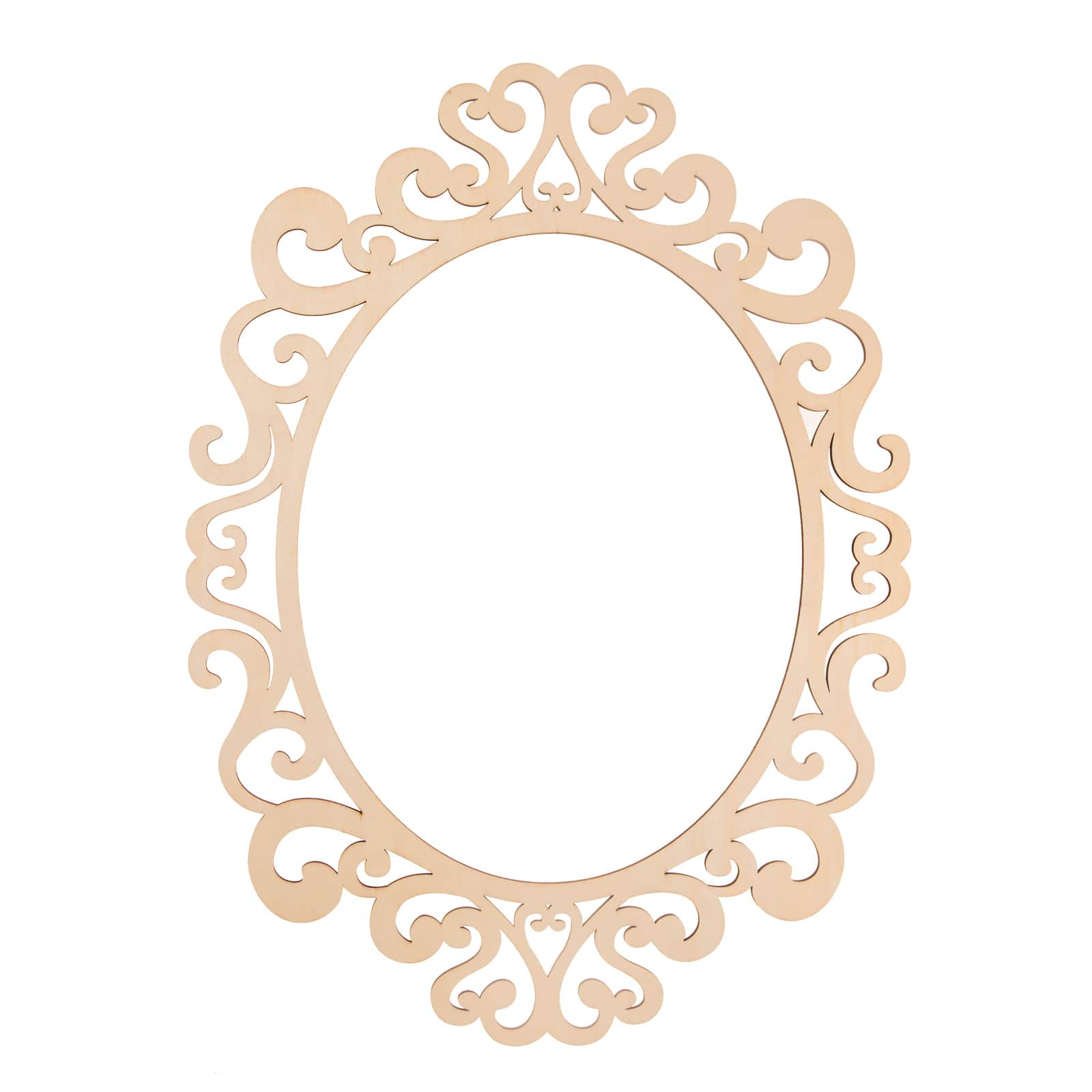 Oval Mirror Wood Frame Fancy Oval Laser Cut 11