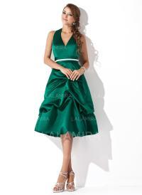A-Line/Princess Halter Knee-Length Satin Bridesmaid ...