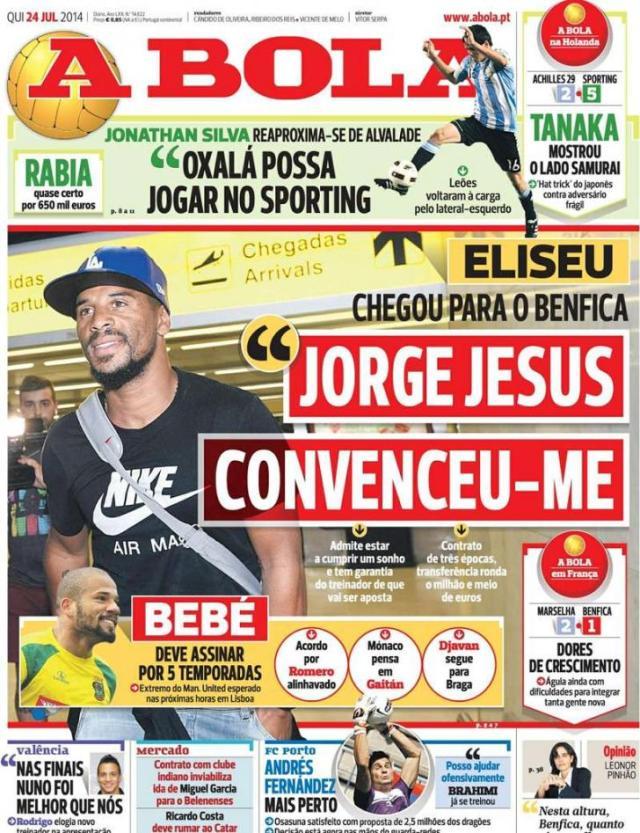 Capa do jornal A BOLA  24 Julho 2014
