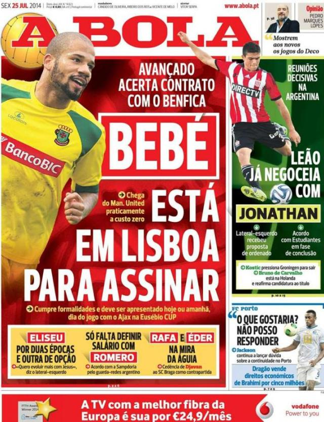 Capa do jornal A BOLA  25 Julho 2014