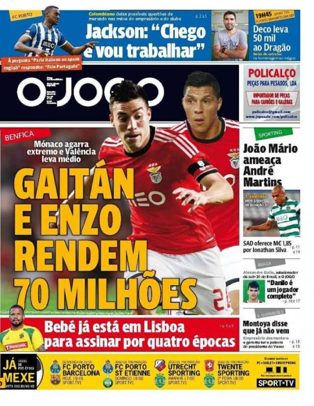 Capa do Jornal O JOGO de 25 de Julho de 2014