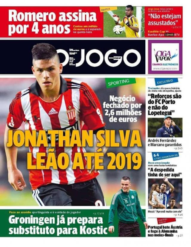 Capa do Jornal O JOGO de 26 de Julho de 2014