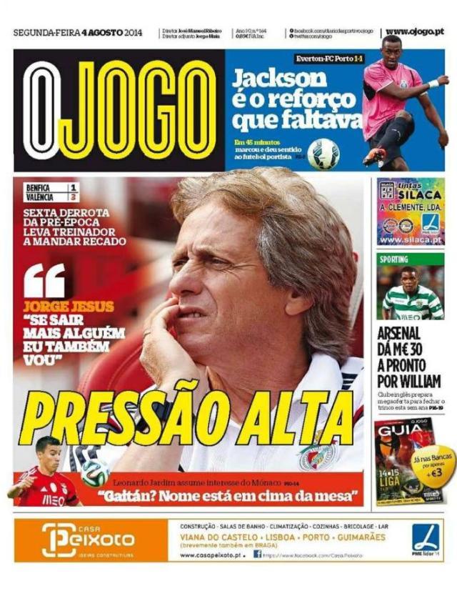 Capa do Jornal O JOGO de 04 de Agosto de 2014