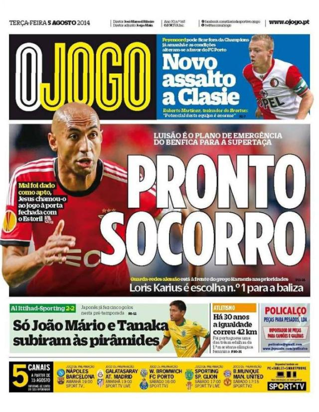 Capa do Jornal O JOGO de 05 de Agosto de 2014