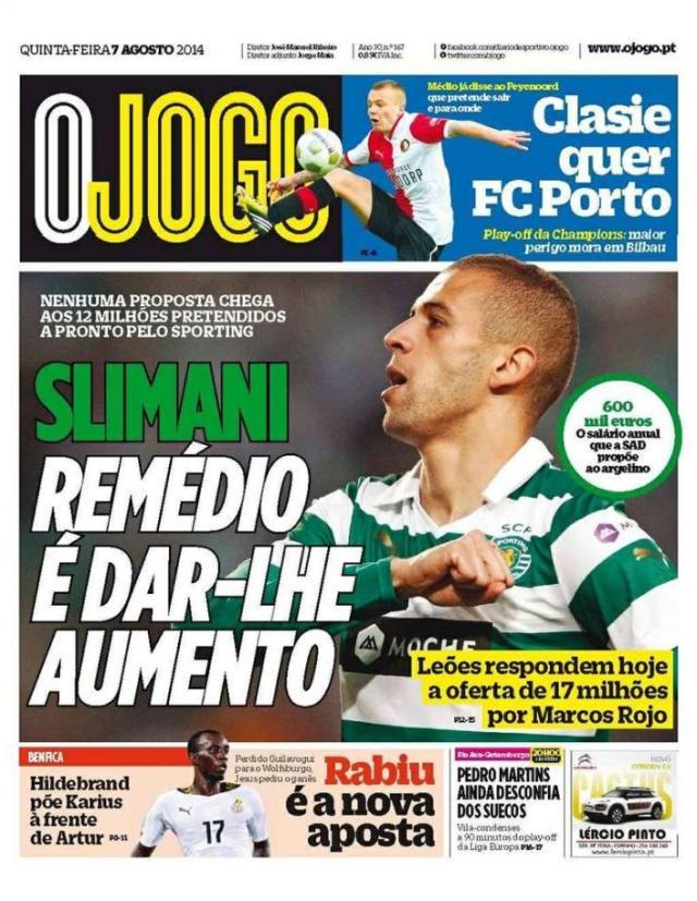 Capa do Jornal O JOGO de 07 de Agosto de 2014
