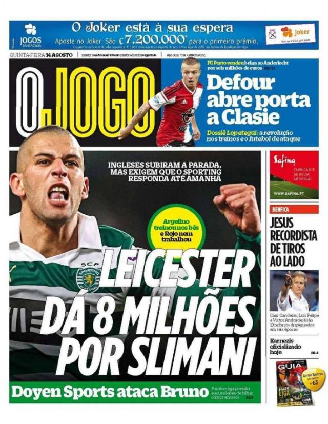 Capa do Jornal O JOGO de 14 de Agosto de 2014