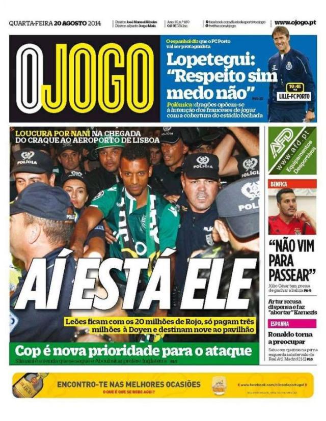 Capa do Jornal O JOGO de 20 de Agosto de 2014