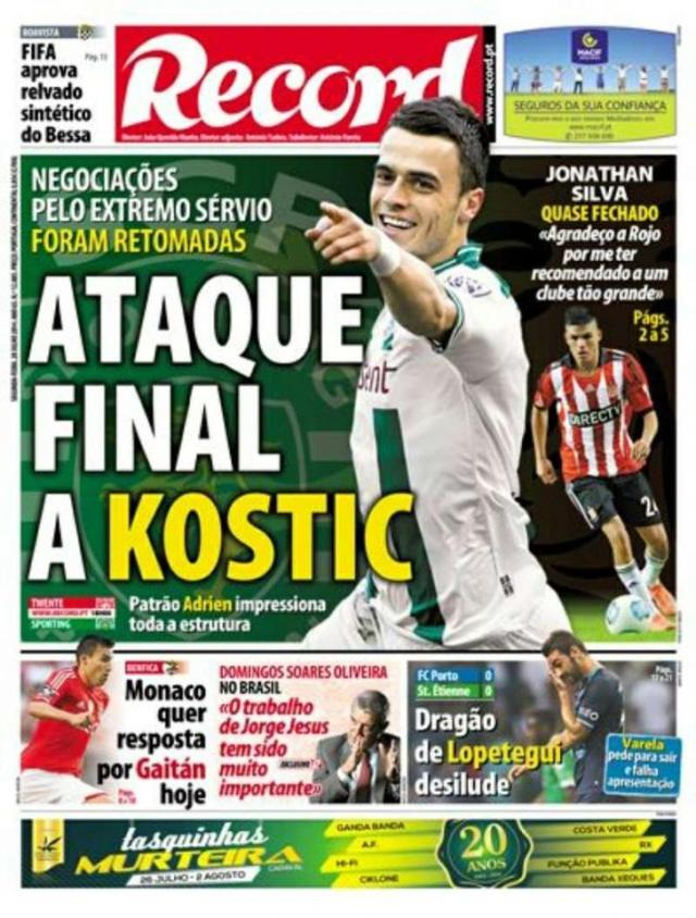Capa do Jornal Record de 28 de Julho 2014