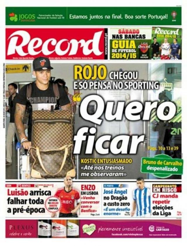 Capa do Jornal Record de 30 de Julho 2014