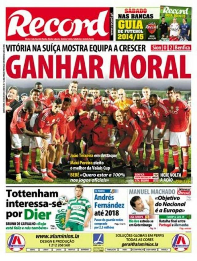 Capa do Jornal Record de 31 de Julho 2014