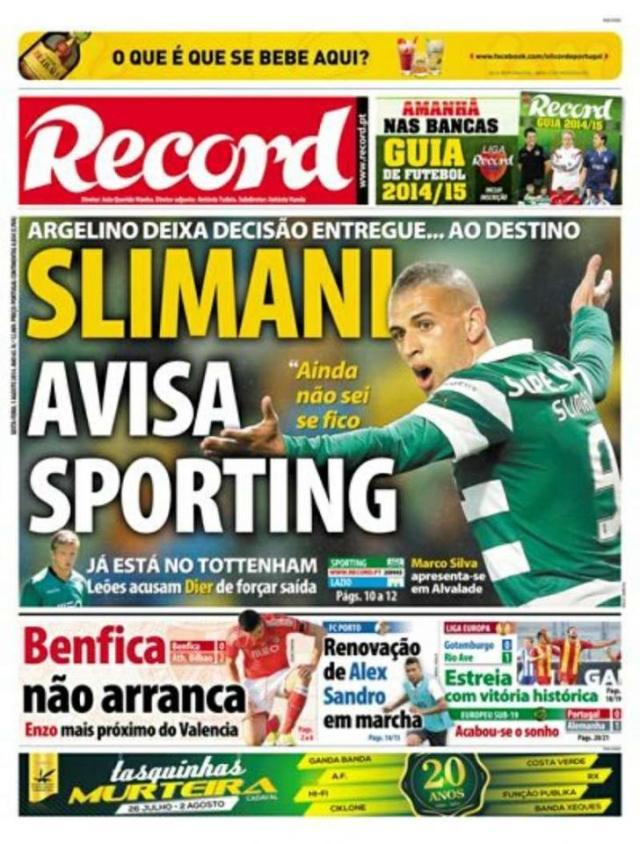 Capa do Jornal Record de 01 de Agosto 2014
