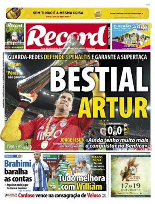 Capa do Jornal Record de 11 de Agosto 2014
