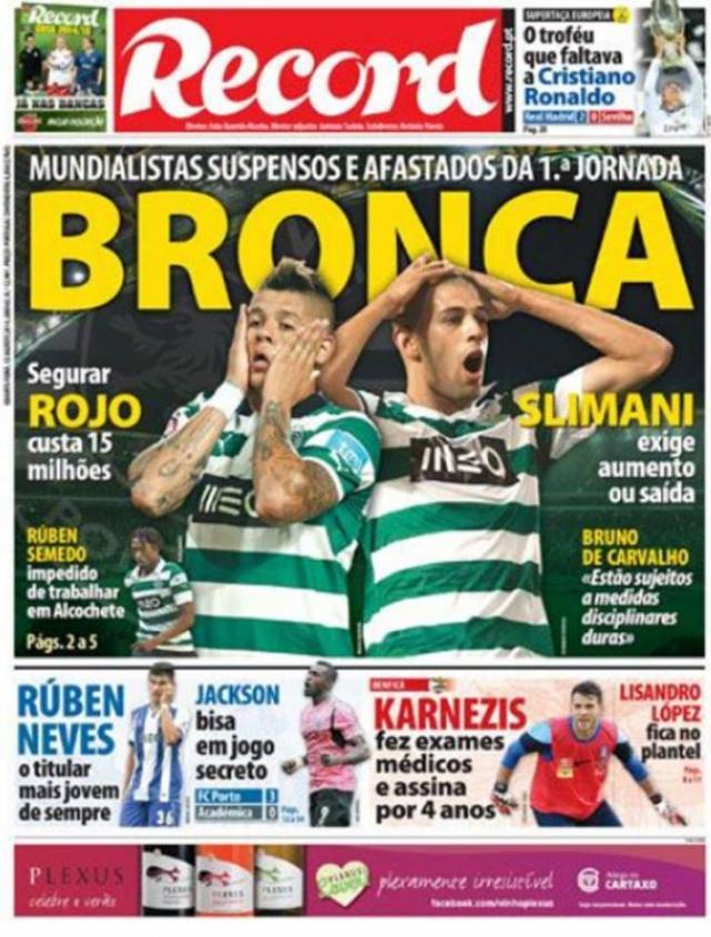 Capa do Jornal Record de 13 de Agosto 2014
