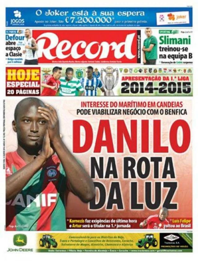 Capa do Jornal Record de 14 de Agosto 2014