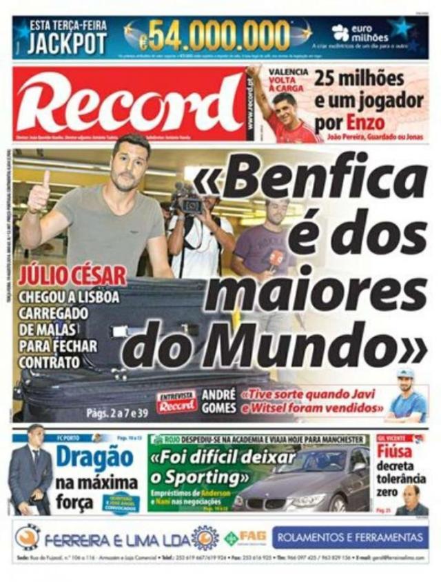Capa do Jornal Record de 19 de Agosto 2014