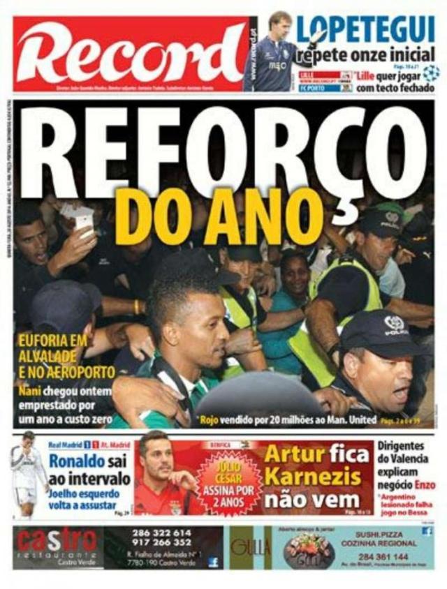 Capa do Jornal Record de 20 de Agosto 2014