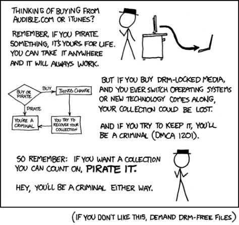 Comic demonstrating the absurdity of criminalizing DRM protection..