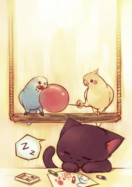 Kawaii Iphone Wallpaper 【图片】【era】可爱水彩风,鹦鹉插画及漫画【玄凤鹦鹉吧】 百度贴吧