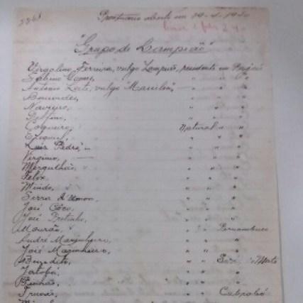 Na ficha encontrada, não há o nome da companheira de Lampião, Maria Bonita