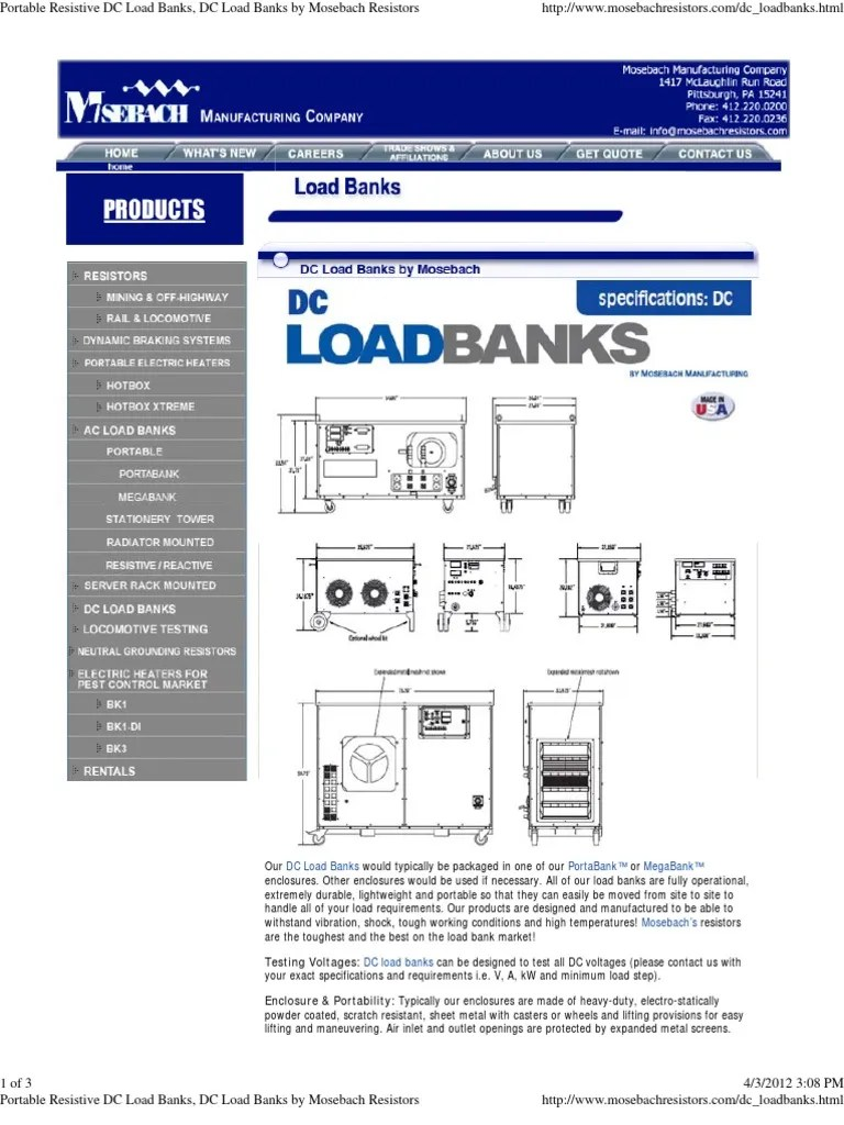 Diy Resistive Load Bank Portable Resistive Dc Load Banks Dc Load Banks By Mosebach