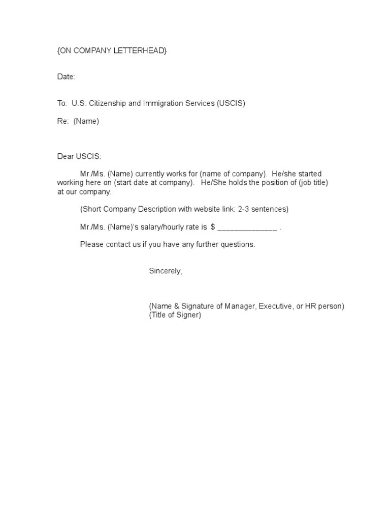 Sample Of Employment Verification Letter For Immigration | Best
