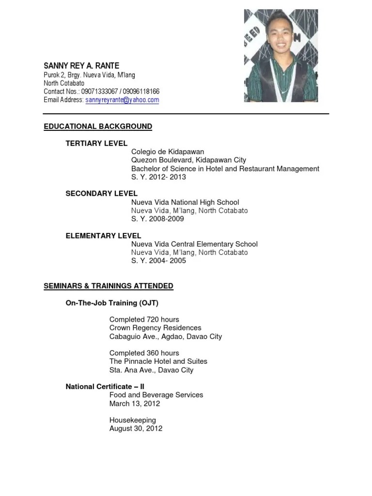 sample resume format for ojt hrm students