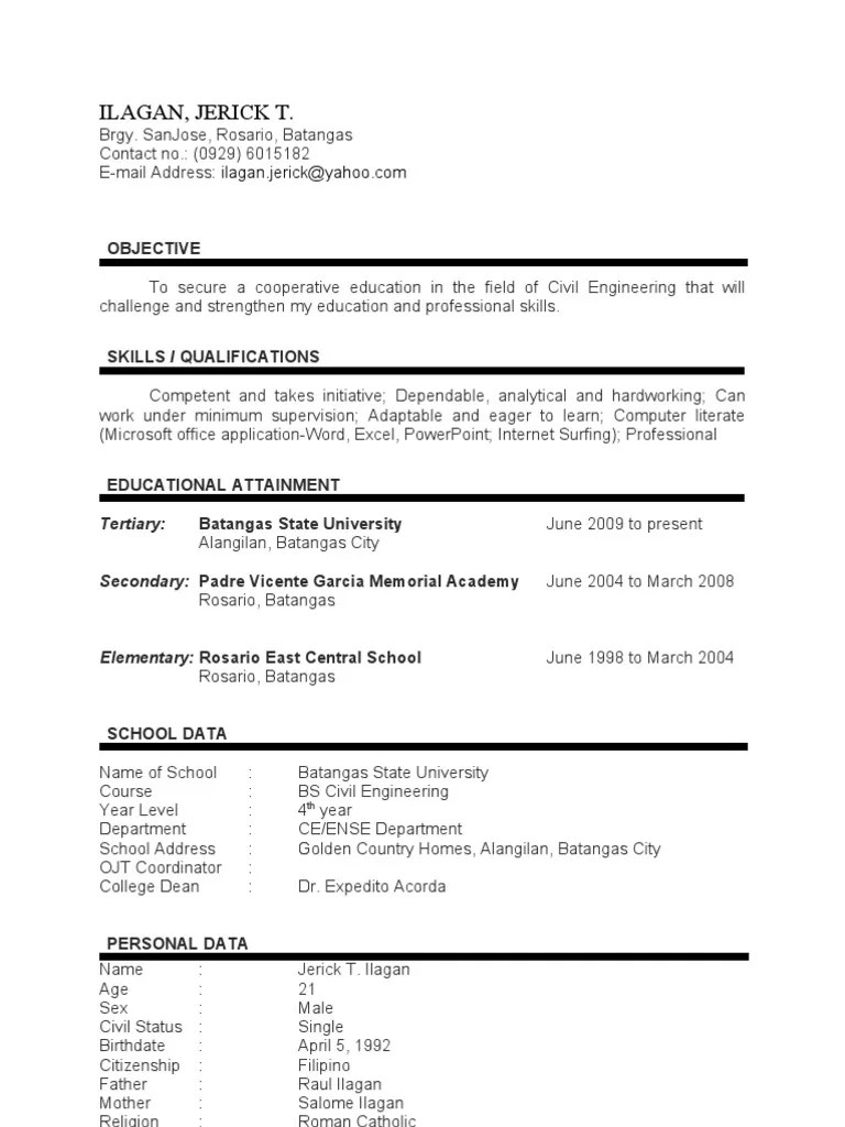 sample resume for ojt industrial engineering sample war sample resume for ojt industrial engineering sample resume civil engineer resume it training and engineering student examples engineering cover letter