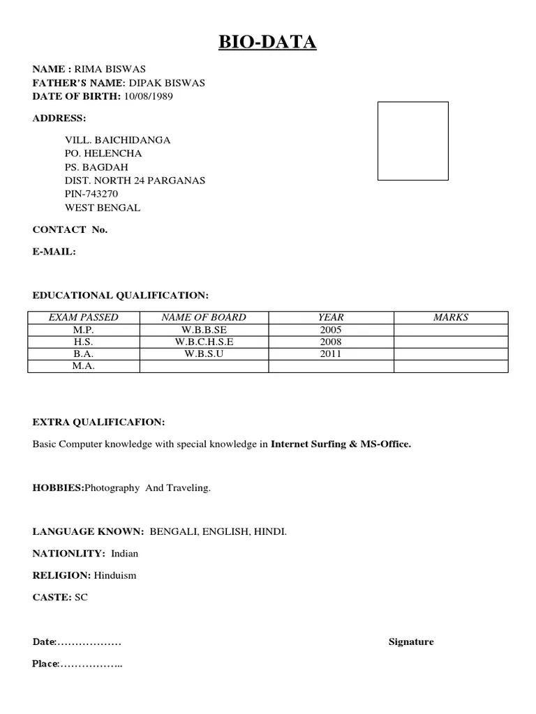 simple bio data pdf