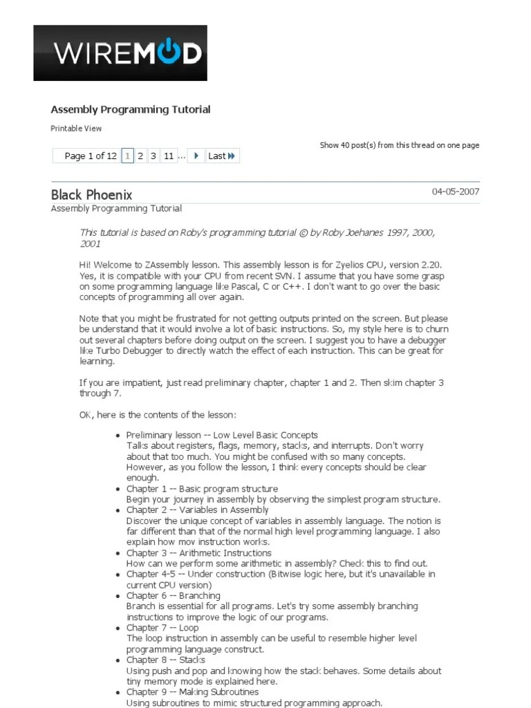 Programming Tutorial Assembly Programming Tutorial Assembly Language Subroutine