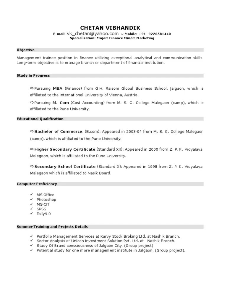 marketing resume for college student