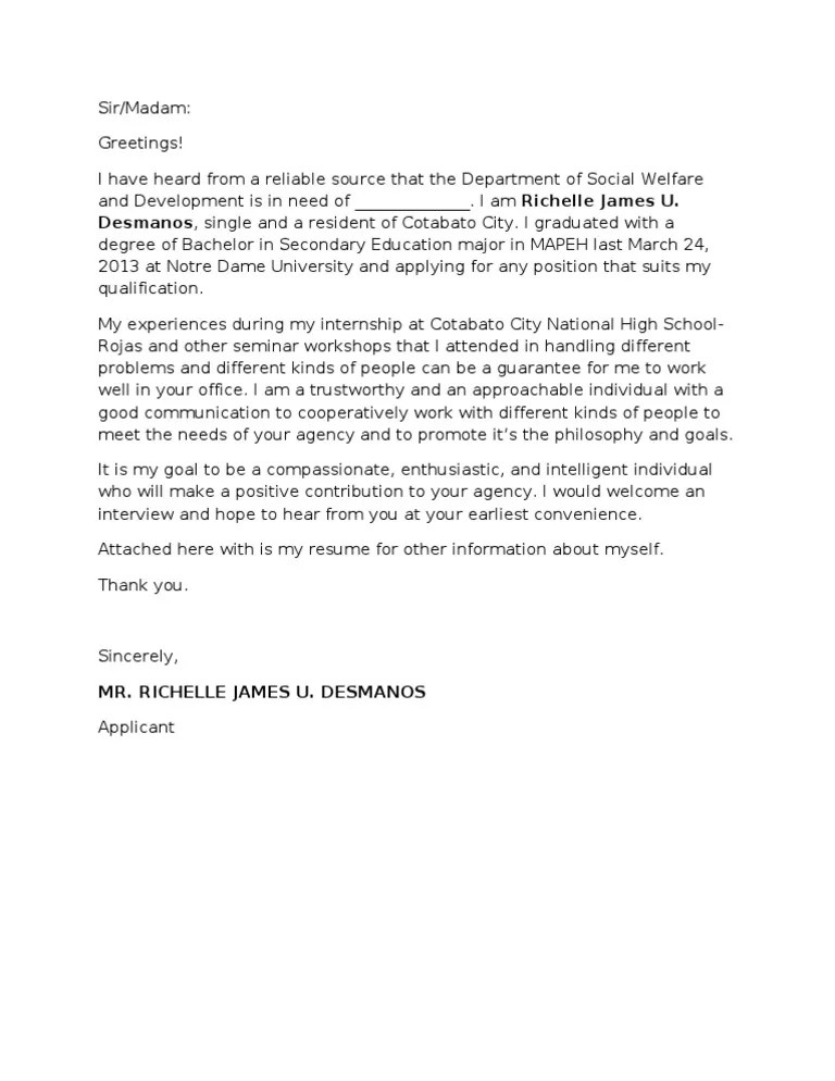 Teacher Cover Letter Example And Writing Tips The Balance Application Letter Nso Dswd