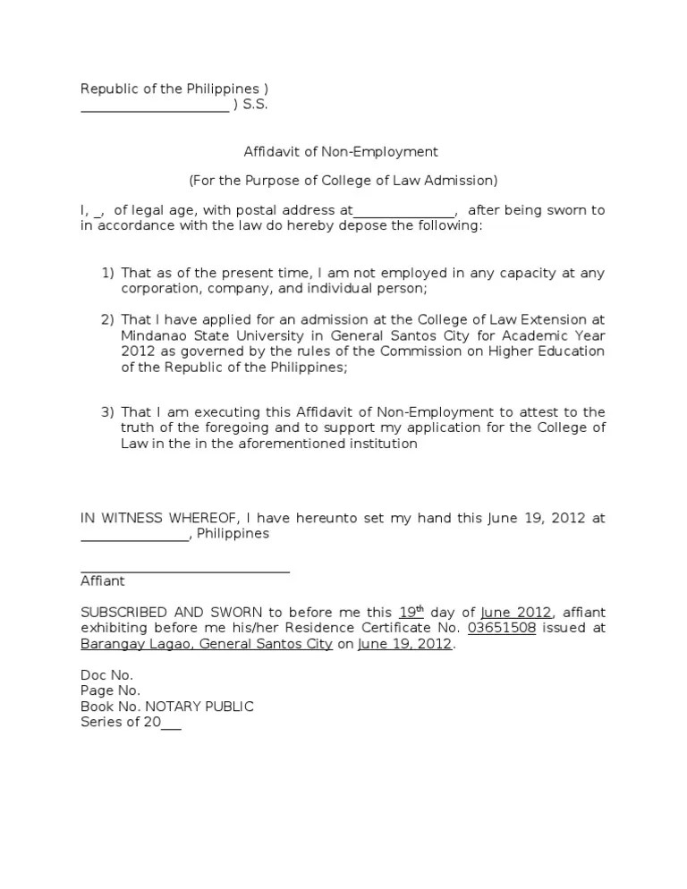 Affidavit Of Support Employment Letter Sample | Sample Resume For