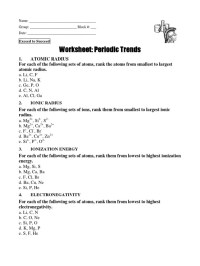 trends in the periodic table worksheet answers ...