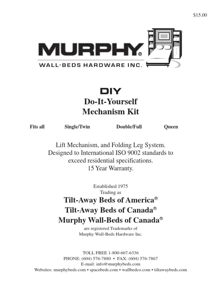 Tiltaway Beds Vertical Diy Instructions Cabinetry Nut Hardware