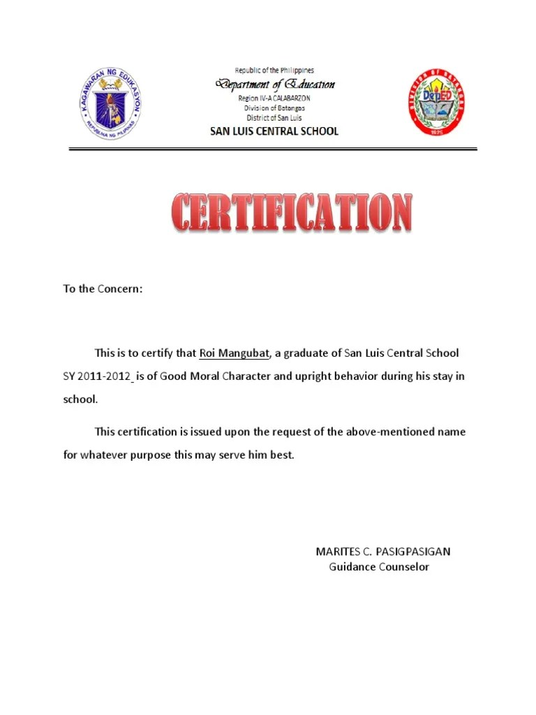 Sample good moral certificate personal letter of reference format sample letter of good moral image collections certificate design 1464756340 sample letter of good moral yadclub Images