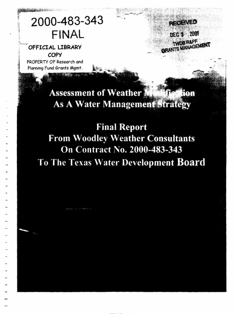 Jb Lighting A12 Used Weather Modification Final Report Rain 85 Views