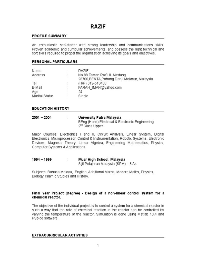 sample physics resume fresh graduate