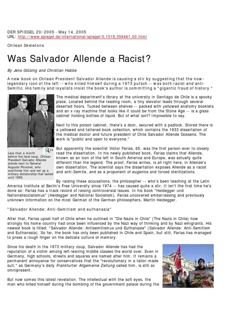 Badspiegel Jolled Was Salvador Allende A Racist Eugenics Chile